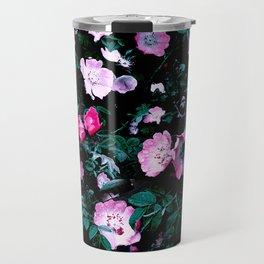Emerald Green And Rose Blush Floral Travel Mug