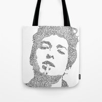 dylan Tote Bags featuring Bob Dylan by S. L. Fina