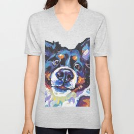 Berner Bernese Mountain Dog Portrait Pop Art painting by Lea Unisex V-Neck