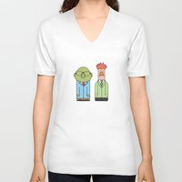 muppets V-neck T-shirts featuring Bunsen & Beaker – The Muppets by Big Purple Glasses