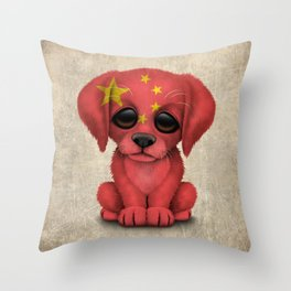 Cute Puppy Dog with flag of China Throw Pillow