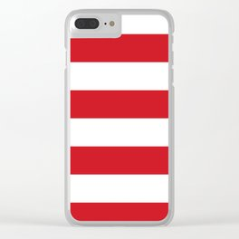 Wide Horizontal Stripes - White and Fire Engine Red Clear iPhone Case