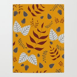 Autumn leaves and acorns - ochre, brown and grey Poster