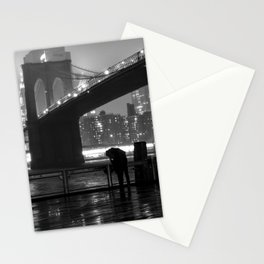 Brooklyn Bridge on a rainy night Stationery Cards
