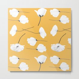 Poppies on mustard Metal Print