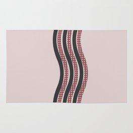 Pastel Pink Textured Black  Waves Rug