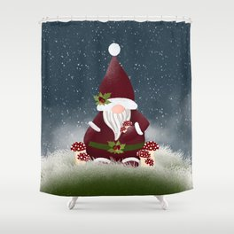 Mr Frosty Forest Nordic Gnome Shower Curtain