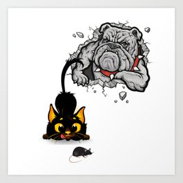 Cute Funny Cats Dogs Mouse Sticker Art Print