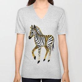 Gold Zebra Unisex V-Neck