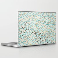 laptop Laptop & iPad Skins featuring Berry Branches – Turquoise & Gold by Cat Coquillette