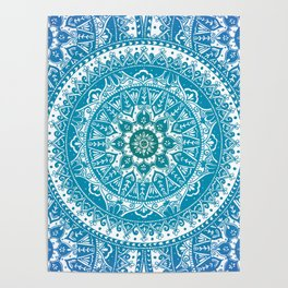 Aquamarine Mandala Pattern Poster