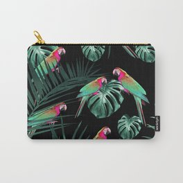 Parrots in the Tropical Jungle Night #1 #tropical #decor #art #society6 Carry-All Pouch