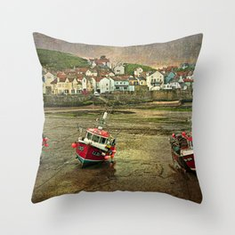 Three Red Boats at Staithes Throw Pillow