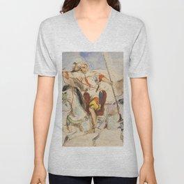 """Eugène Delacroix """"Cavalier arabe à cheval"""" Unisex V-Neck"""