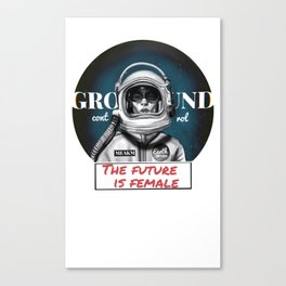 The Future is female space astronaut girl Canvas Print