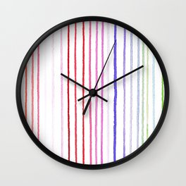 RAINBOW WATERCOLOR LINES Wall Clock