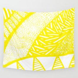 Free Hand Zesty Lemon Doodle Design Wall Tapestry