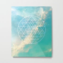 Sri Yantra Sacred Geometry over Galaxy - Teal Metal Print