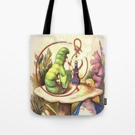 Alice & The Hookah Smoking Caterpillar - Alice In Wonderland Tote Bag