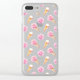 Peonies and Ice Cream Cone Pattern #1 Clear iPhone Case