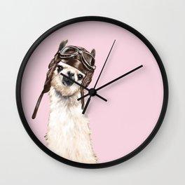 Cool Pilot Llama in Pink Wall Clock