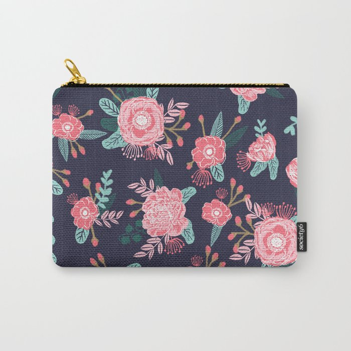 Peony floral bouquet navy pink bright happy flowers dorm college office decor must have pattern Carry-All Pouch