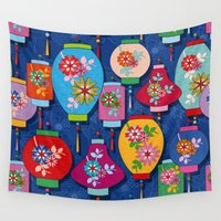 chinese Wall Tapestries featuring Chinese lantern by Helene Michau