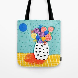 Legit - throwback abstract floral still life memphis retro 80s style vase with flowers Tote Bag