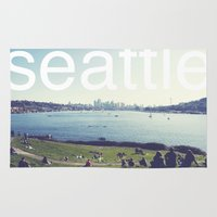seattle Area & Throw Rugs featuring seattle by Rae Snyder