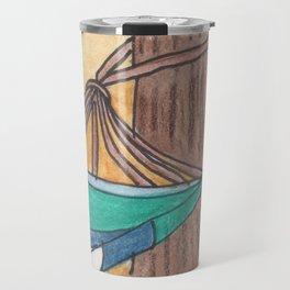 Just Swaying Away-Watercolor Hammock Design Travel Mug