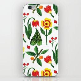 Yellow pink green watercolor tulips pansies pattern iPhone Skin