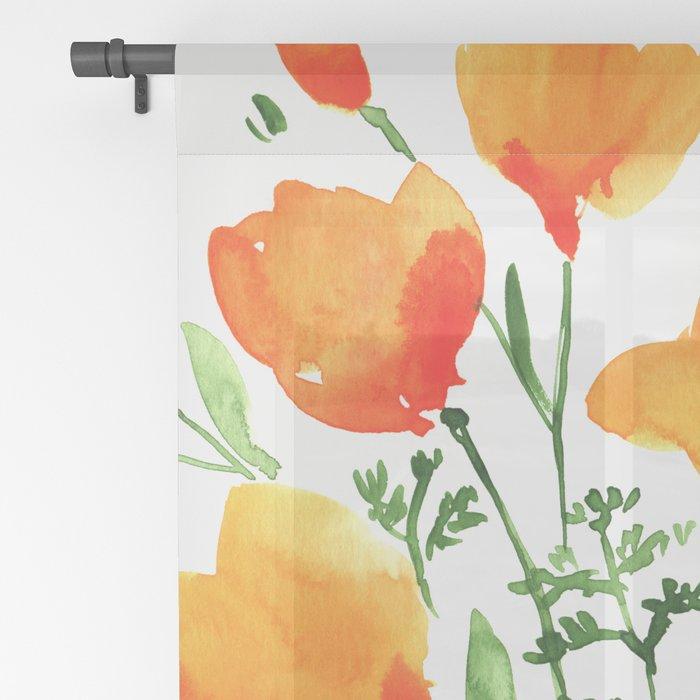 Watercolor California poppies Sheer Curtain