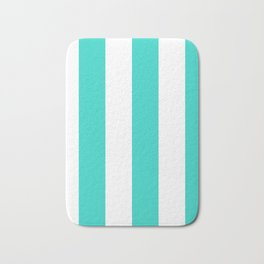 Wide Vertical Stripes - White and Turquoise Bath Mat