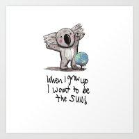 Koala big dreaming Art Print