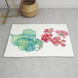 Red watercolor geranium Rug