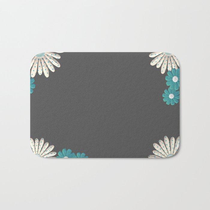 Gray,blue flowers Bath Mat