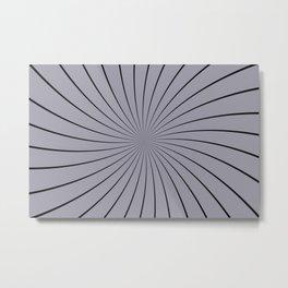 3D Pantone Lilac Gray with Black Thin Striped Circle Pinwheel Metal Print