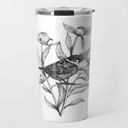 sparrow on peonies Travel Mug