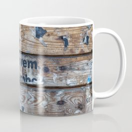 Distressed Poster Fragments On Old Planks Coffee Mug