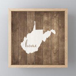 West Virginia is Home - White on Wood Framed Mini Art Print