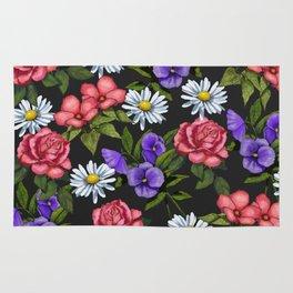 Flowers on Black Background, Original Art Rug