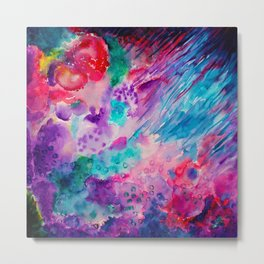 Watercolor Abstract Sea Metal Print