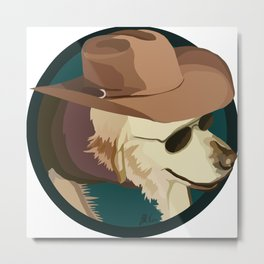 Golden Retriever in a Cowboy Hat Metal Print