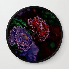 Neon Flowers in the Dark 1 Wall Clock