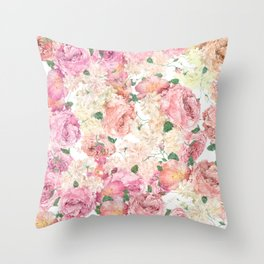 Flowers, Floral Explosion, Floral Pattern, Pink Flowers Throw Pillow