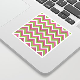 Pink Green and White Chevrons Sticker