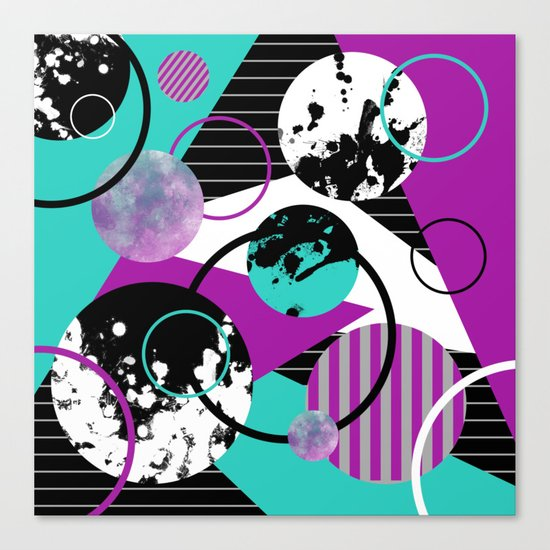 Eclectic Geometric (Abstract blue, purple, black, white) Canvas Print