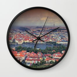 Panorama of Prague with Vltava river Wall Clock