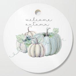 welcome autumn blue pumpkin Cutting Board