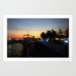 Night falls at Lakes Entrance Art Print